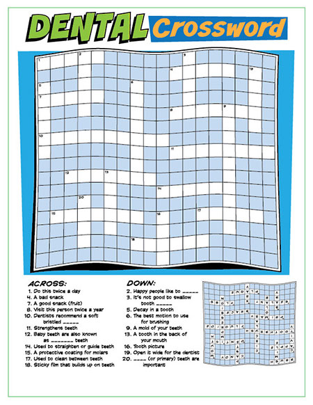 Dental Crossword Puzzle Activity Sheet - Pediatric Dentist in Portland, OR