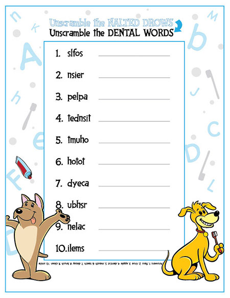 Unscramble the Dental Words Activity Sheet - Pediatric Dentist in Portland, OR